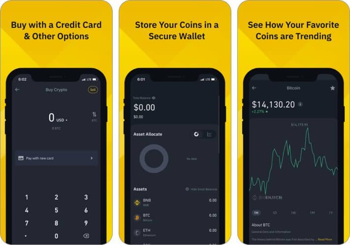 Скриншот приложения Binance Cryptocurrency для iPhone и iPad