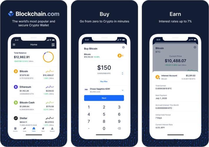 Блокчейн-кошелек Криптовалюта Скриншот приложения для iPhone и iPad