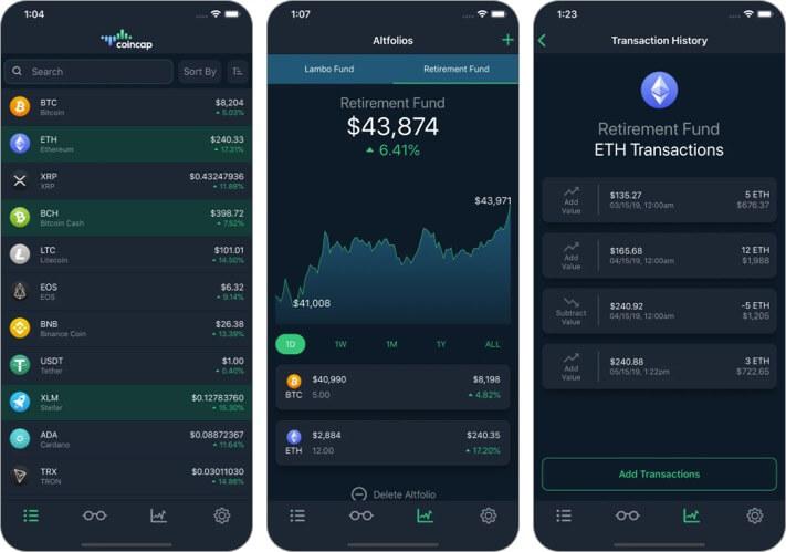 Скриншот приложения CoinCap Cryptocurrency для iPhone и iPad