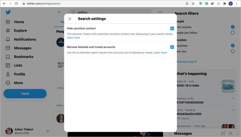 Включение и использование безопасного поиска Twitter на компьютере