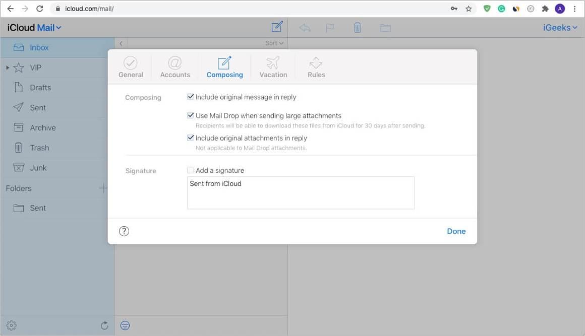 Включите использование Mail Drop с iCloud.com