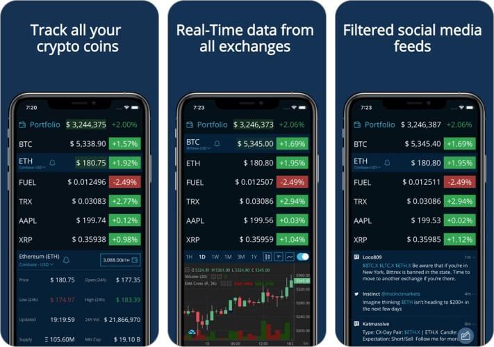 Скриншот приложения для iPhone и iPad с криптовалютой в реальном времени HODL