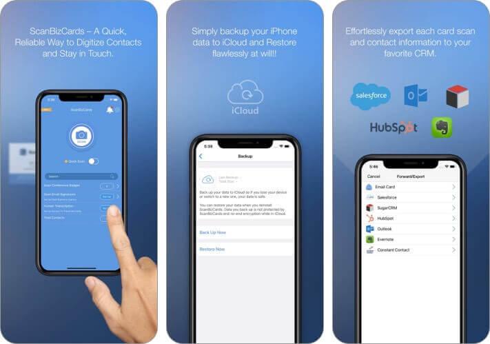 Скриншот приложения scanbizcards для iPhone и iPad