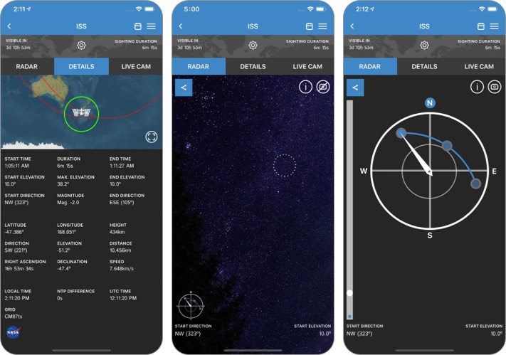 Скриншот приложения ISS Detector Stargazing для iPhone и iPad
