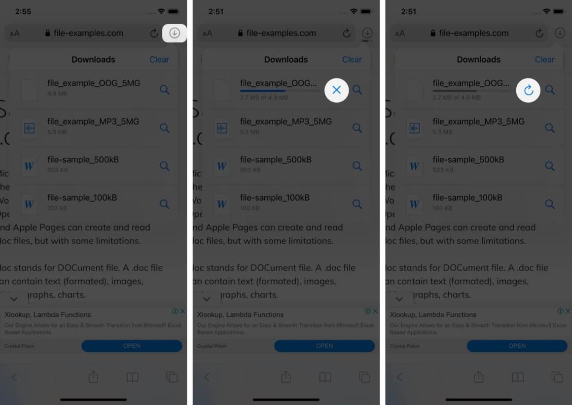 Приостановить Возобновить Отмена загрузок в Safari на iPhone
