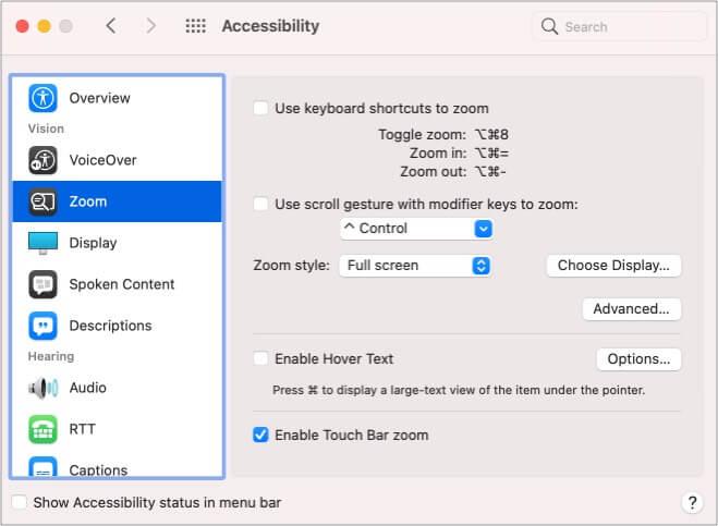 Включите Touch Bar Zoom на MacBook