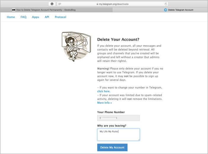 Напишите причину удаления учетной записи Telegram и нажмите Готово