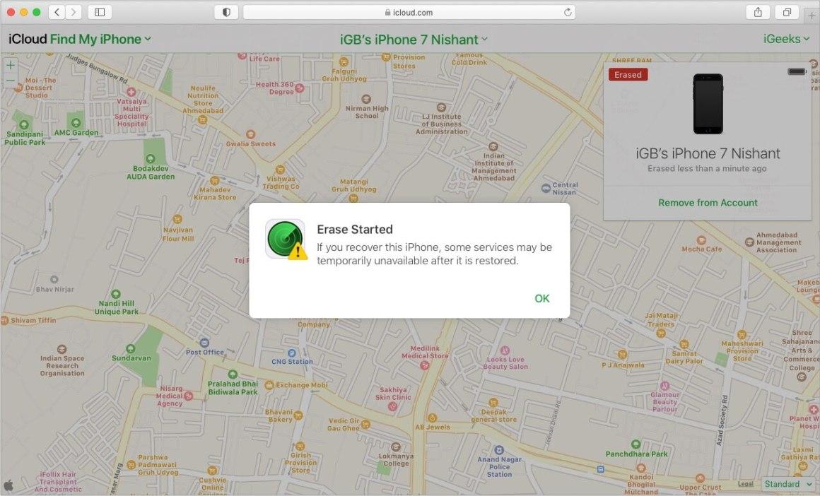 Очистка iPhone через iCloud начинается, когда устройство подключено к Wi-Fi