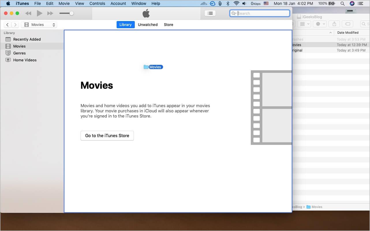 Нажмите и удерживайте клавишу Option и перетащите папку фильмов с внешнего диска в iTunes.