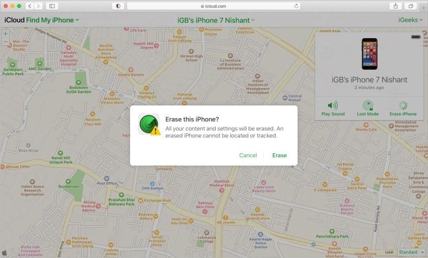 Нажмите «Стереть», чтобы исправить отключенный iPhone через iCloud.