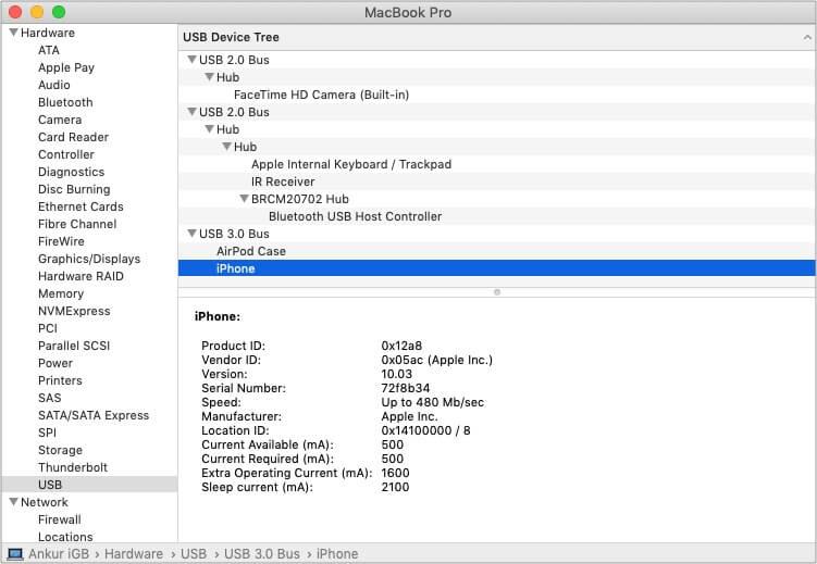 Используйте информацию о системе на Mac, чтобы проверить USB-соединение iPhone