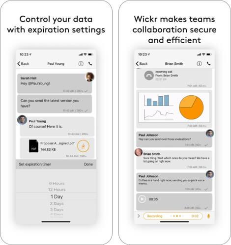 Скриншот приложения Wickr для iPhone