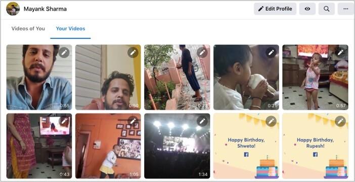 Wählen Sie Ihre Videos aus und Sie erhalten Videos, die Sie auf Facebook geteilt haben