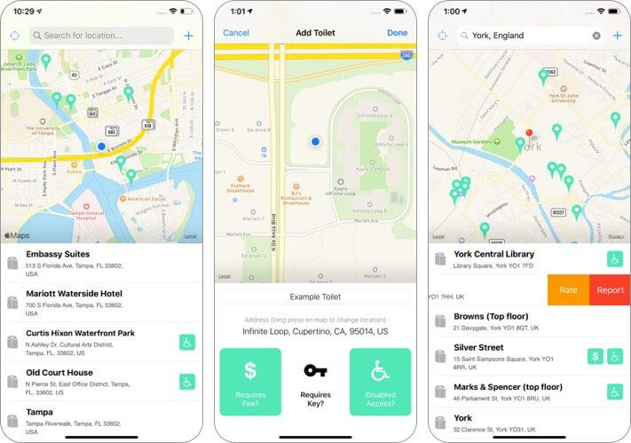 поиск смывного унитаза, скриншот приложения для iphone и ipad