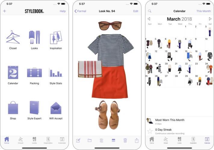 скриншот приложения stylebook для iphone и ipad