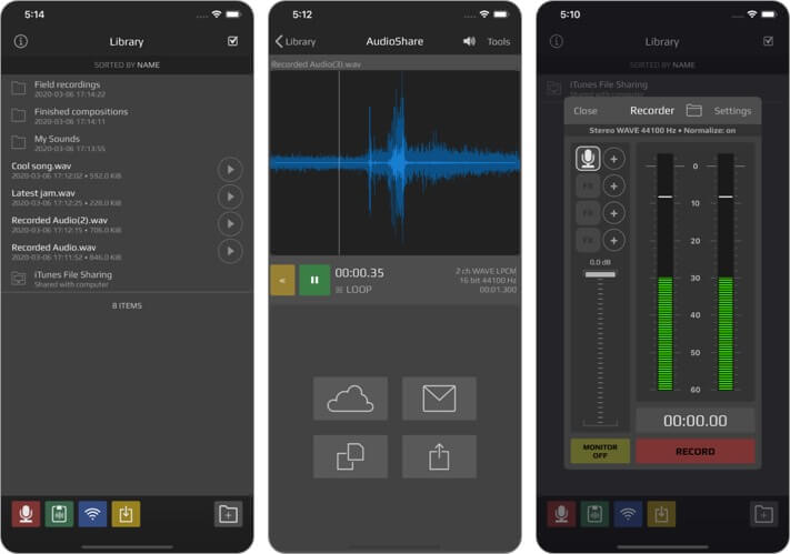 Скриншот приложения AudioShare для iPhone и iPad