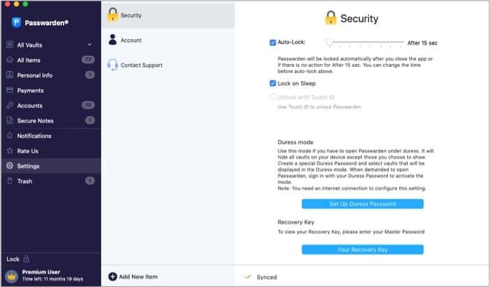 Автоблокировка в приложении Passwarden для Mac