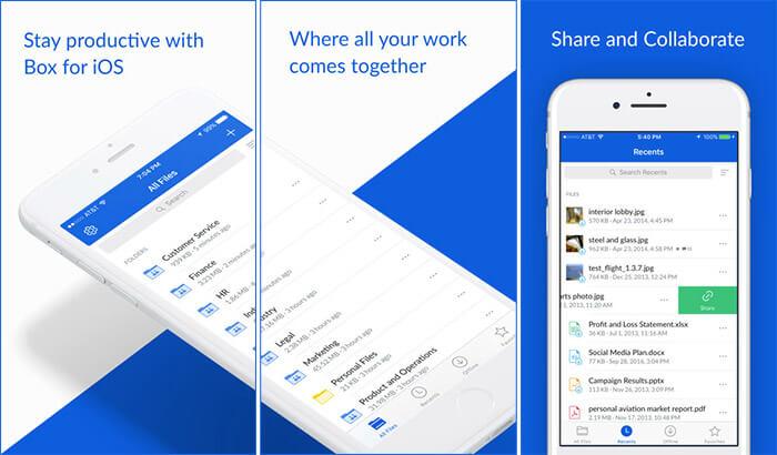 Скриншот приложения Box iPhone и iPad Cloud Storage