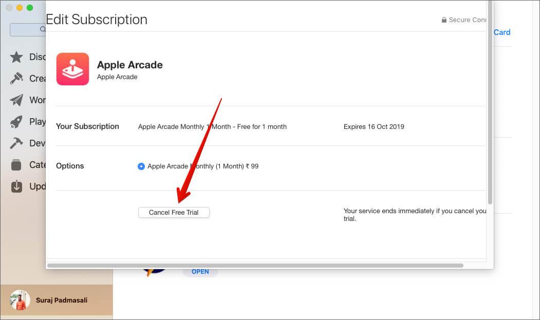 Отмена подписки Apple Arcade на Mac