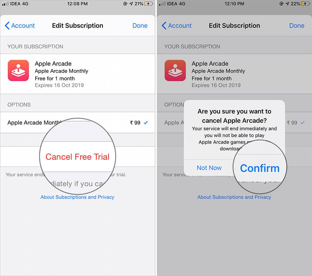 Отмена подписки Apple Arcade на iPhone или iPad