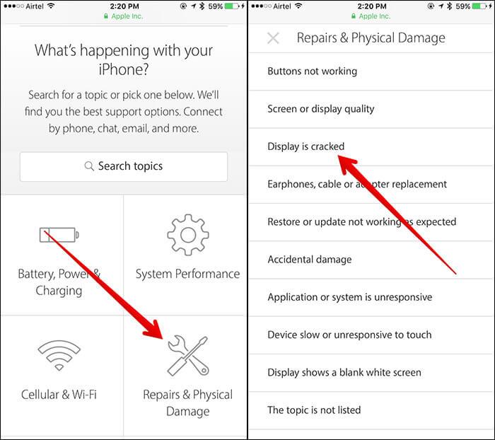 Выберите Проблема iPhone на странице поддержки Apple.