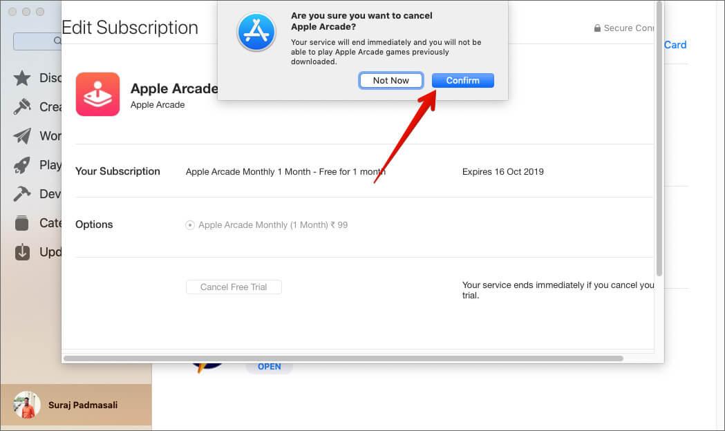 Нажмите «Подтвердить», чтобы отказаться от подписки на Apple Arcade на Mac.