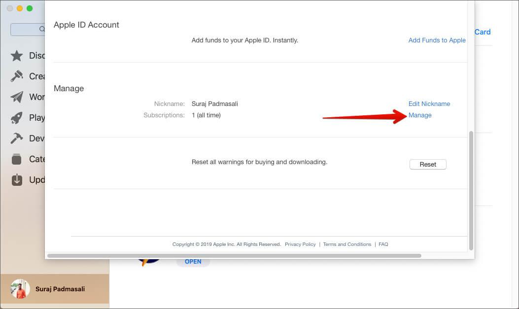 Нажмите на раздел «Управление учетной записью Apple ID» в Mac App Store.