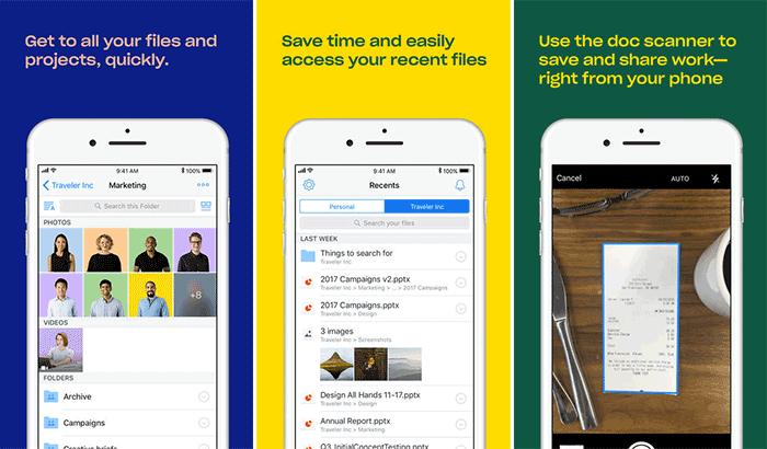 Скриншот приложения облачного хранилища Dropbox для iPhone и iPad