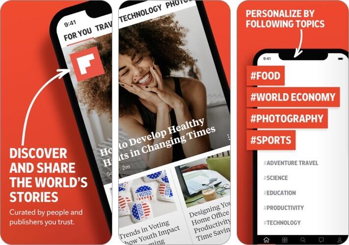 Скриншот приложения для ведения блога Flipboard
