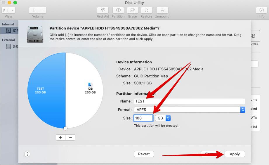 Укажите имя раздела, введите размер и нажмите «Применить» в приложении Mac Disk Utility.
