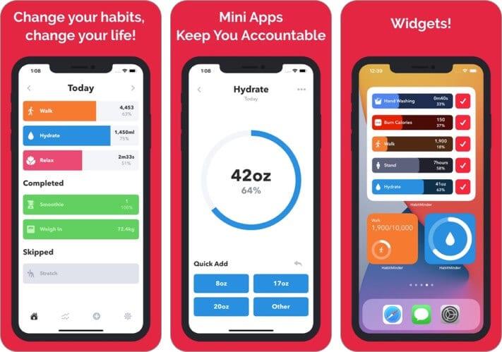 Сторонние виджеты домашнего экрана Habit Minder iOS 14 для iPhone