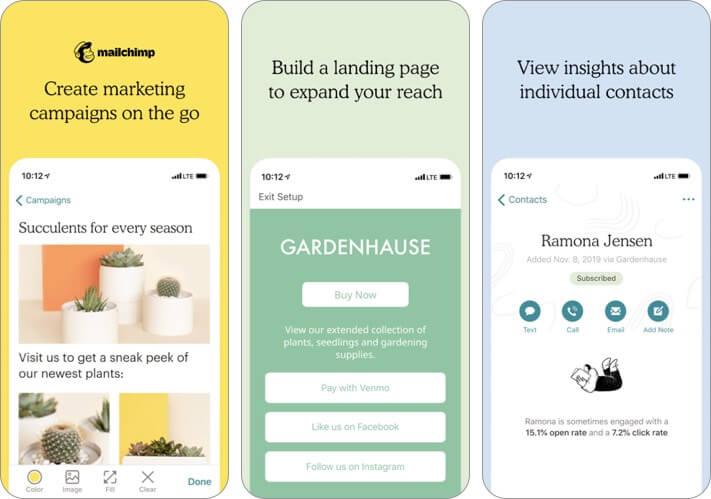 Скриншот приложения для ведения блогов Mailchimp Marketing