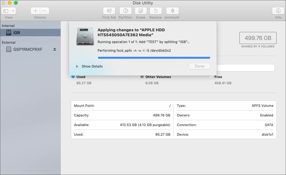 Разбиение жесткого диска на разделы в MacOS