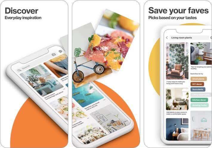 Скриншот приложения для ведения блога Pinterest