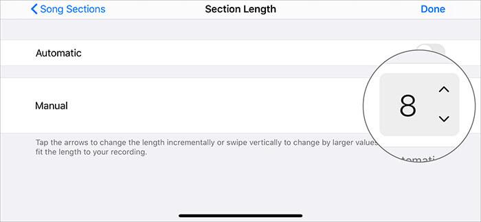Выберите 8 тактов в ручном режиме в приложении GarageBand на iPhone.