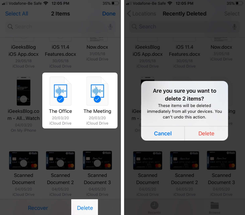 Выберите файлы и нажмите «Удалить», чтобы навсегда удалить файлы с iPhone.