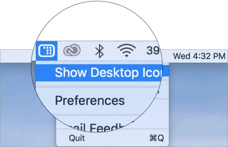 Выберите Показать значки рабочего стола в приложении Mac HiddenMe.