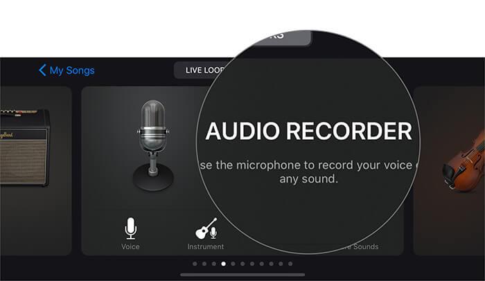 Нажмите на Audio Recorder, чтобы записать голос в приложении GarageBand на iPhone.
