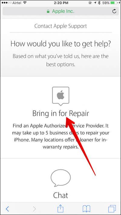 Нажмите «Принять для ремонта» на странице поддержки Apple на iPhone.