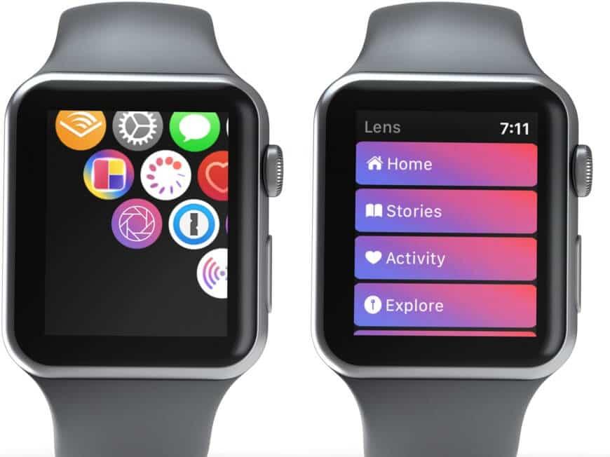 Нажмите на приложение «Объектив» и выберите предпочтительный вариант в меню на Apple Watch.