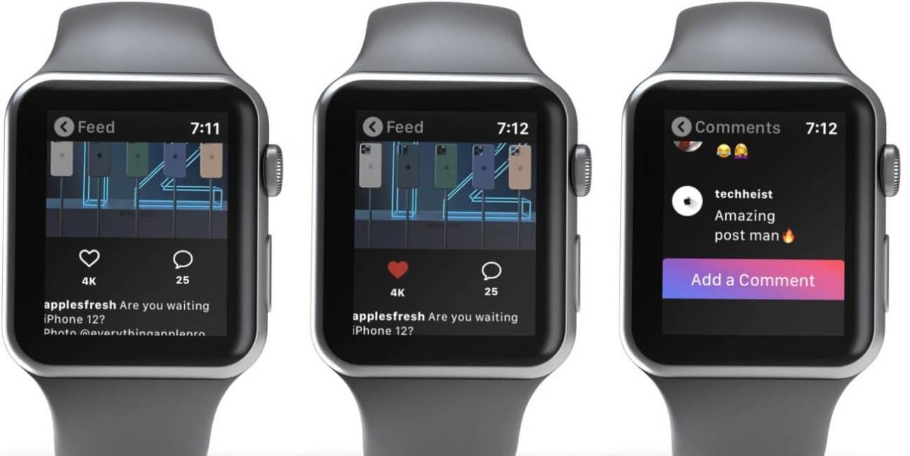 Нажмите на публикацию в ленте Instagram, чтобы поставить лайк или добавить комментарий на Apple Watch.
