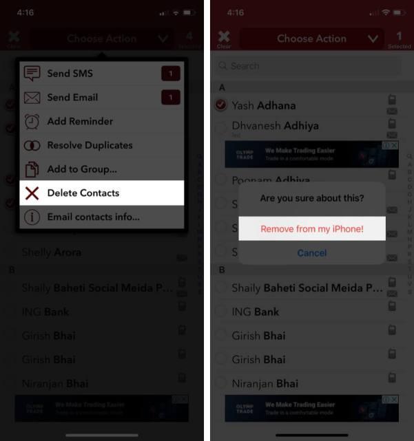 Нажмите на удаление контактов, чтобы удалить сразу несколько контактов на iPhone.