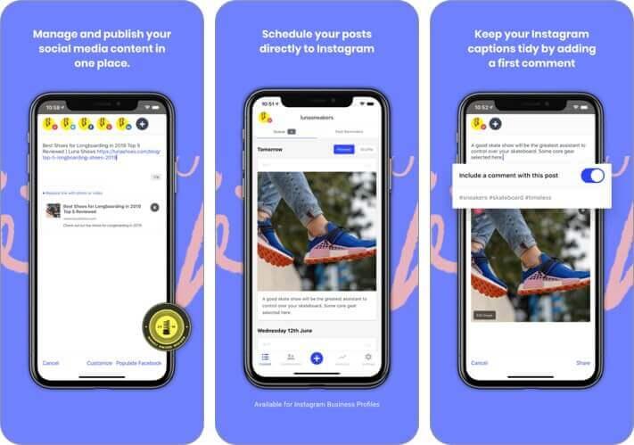 буферный менеджер социальных сетей для iPhone, скриншот приложения