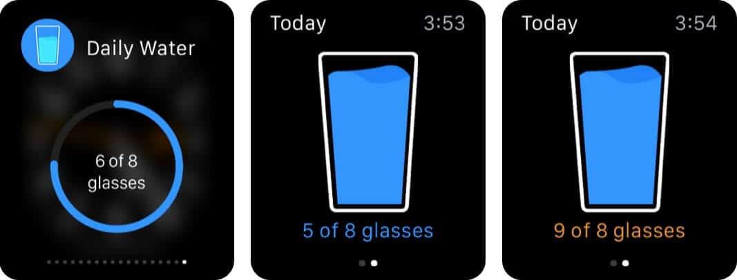 Ежедневное напоминание о питье воды Скриншот приложения Apple Watch
