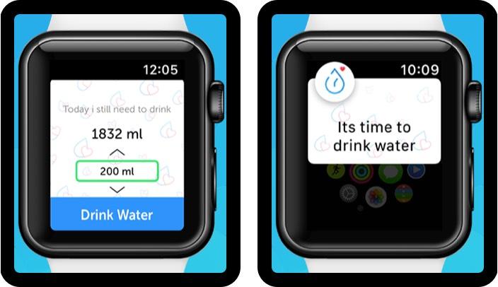 напоминание о питье воды n трекер скриншот приложения для Apple Watch