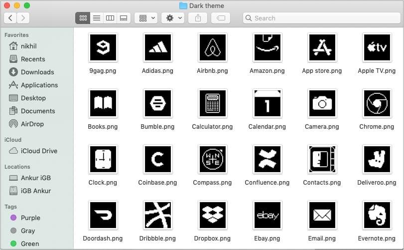 Старая школа iOS 14 темных значков приложений