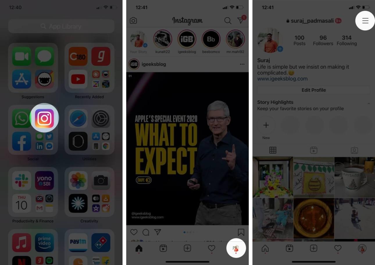 откройте приложение Instagram, нажмите на профиль, а затем нажмите на значок с тремя линиями на iphone