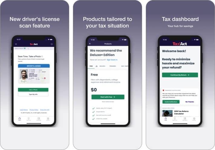 скриншот приложения taxact express для iphone и ipad