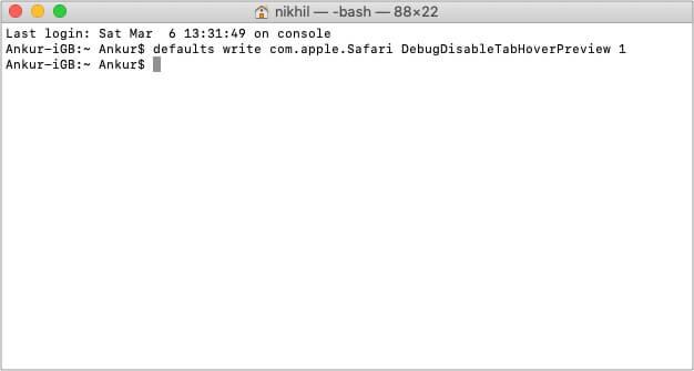 Команда терминала для отключения предварительного просмотра вкладки Safari на Mac