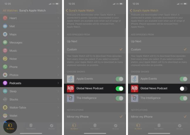 выключить подкаст в приложении для часов на iphone